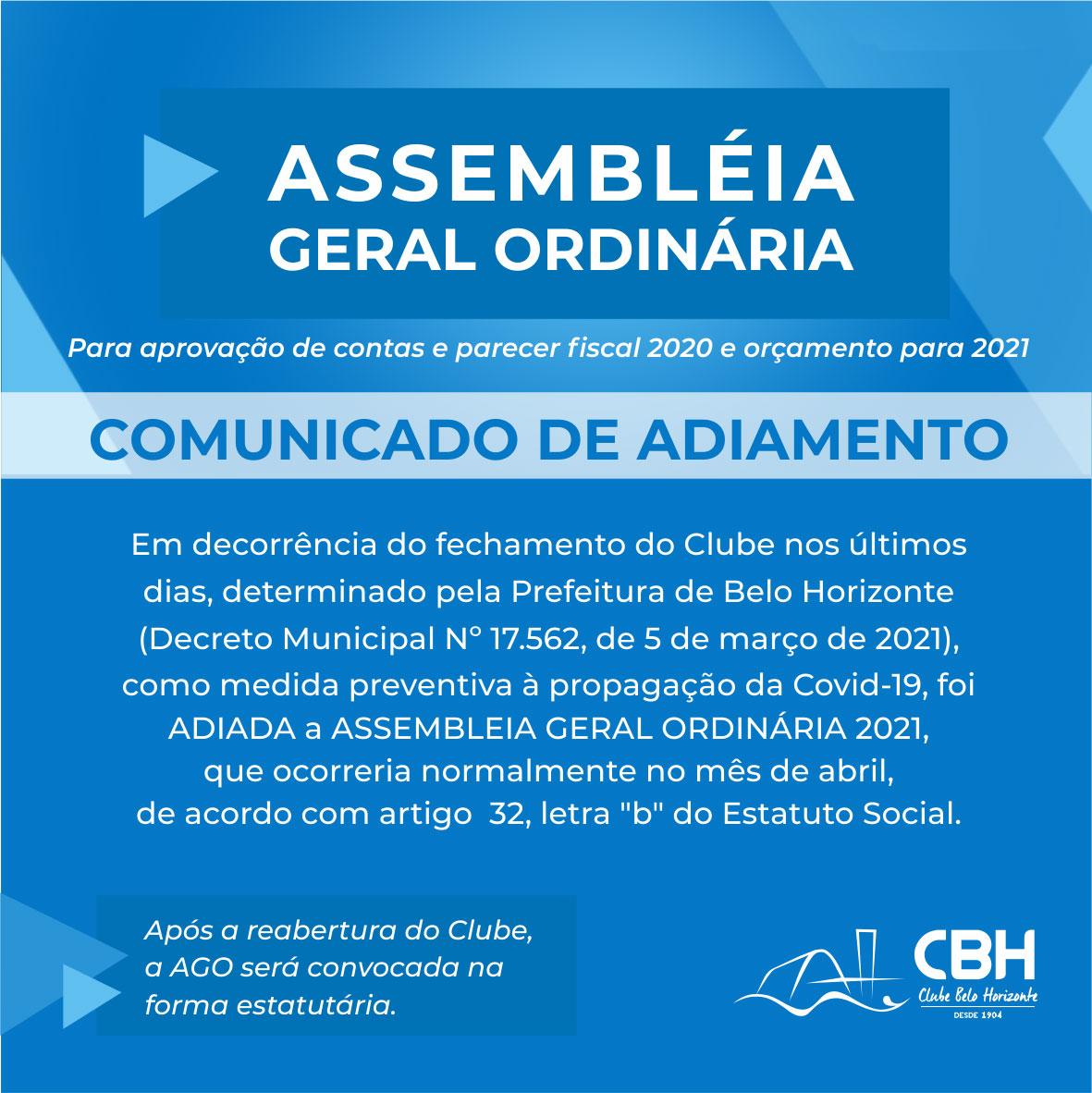CBH Informa: Adiamento da Assembleia