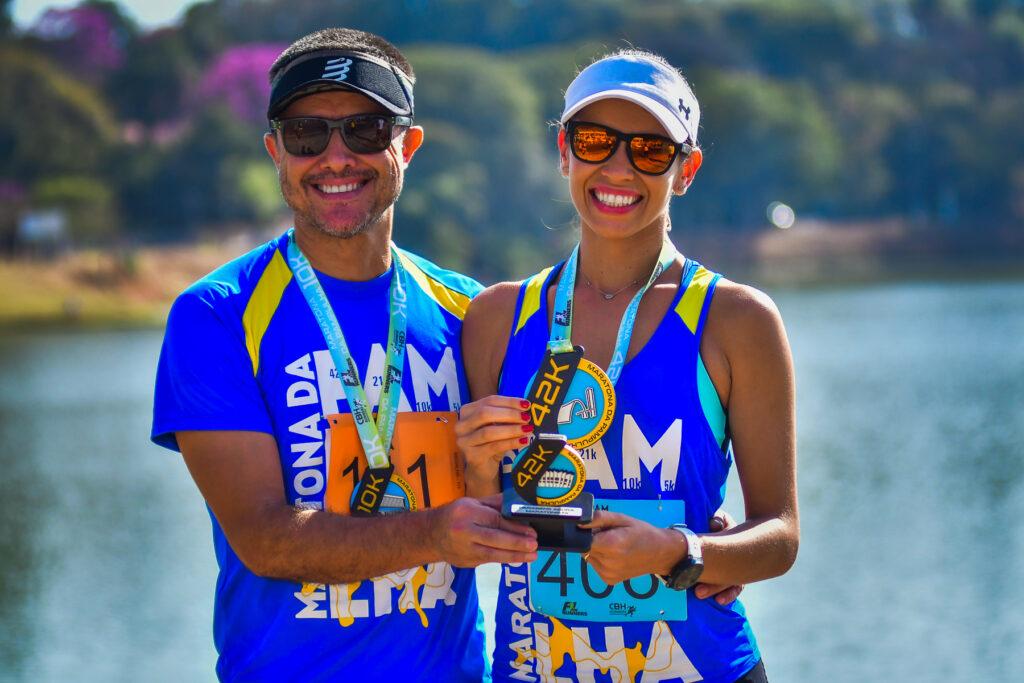 Rafaella Barbosa e Marcel Barbosa vieram do Mato Grosso para a maratona
